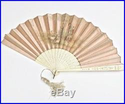 ART NOUVEAU C. 1900 Antique French Silk Folding Fan Hand Painted Signed Romantic
