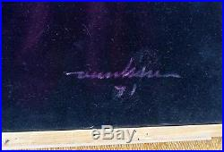 ASIAN NUDE WOMAN Gorgeous Vintage 1971 Signed Original Black Velvet PAINTING