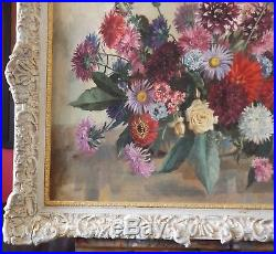 A NICKLOSKY Vintage 1950s Oil Painting Flowers / Roses in Vase. Signed