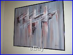 Abstract Oil Painting LEE REYNOLDS # 132919 51 x 41 VTG Signed ORIG. WithFRAME