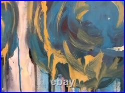 Acrylic painting signed CY TWOMBLY on original Paper of the 80s