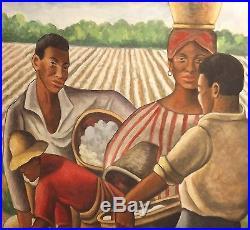 African American Ellis Wilson Original signed Painting In Period Vintage Frame