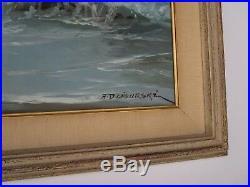 Alexander Dzigurski Painting Large Sofa Size California Coastal Seascape Vintage