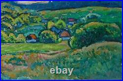 Amazing Impressionist landscape 1970s Poltava's village vintage oil painting