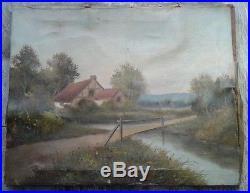 Ancient Art Old Antique Vintage Oil on Canvas VILLAGE Landscape Painting Signed