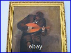 Angelo Signed Vintage Painting Musician Modernist Expressionism Mandolin Player