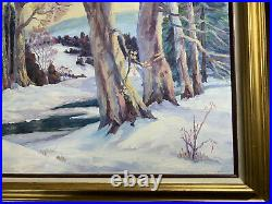 Annette Meckes (1916-2007) Winter Landscape Scene Oil Painting Signed/Framed