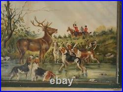 Antique 1930's Original Oil Painting Hunting Cabin Decor Stag Deer Dogs Fox
