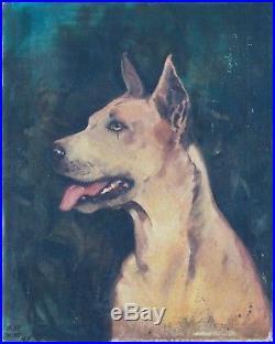 Antique 19c Oil on Canvas Original Painting Portrait of Dog Vintage Signed 1859