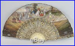Antique 19thC Ladies Hand Fan Signed Clapes Miniature Painting, NR