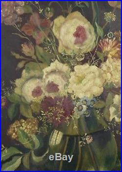 Antique 19th Century NAN MEYER Floral Still Life Oil Painting On Wood Peonies