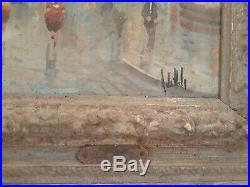 Antique ANTONIO DeVITY Signed OIL PAINTING ON CANVAS Street Scene VINTAGE c30's