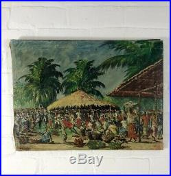 Antique African Oil On Canvas Painting Signed Early C20th Vintage Tribal Art