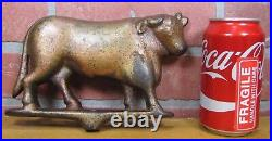 Antique Cast Iron COW BULL Butcher Shop Farm Trade Sign Topper Orig Old Paint Ad
