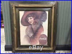 Antique Coca Cola-coke Girl Vtg Silk Screen Portrait Painting Print-sign-clock