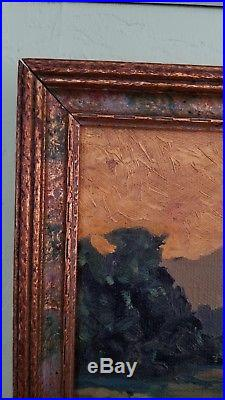 Antique Early American GEM Tonalism Plein Air Landscape Old Oil Painting Signed