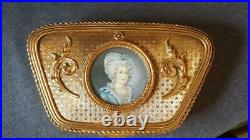 Antique French Box with Miniature signed hand painted portrait under glass
