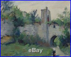 Antique French Oil Painting, Chateau of Picquigny, Picardy, Woman, Signed, 1928