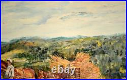 Antique French Painting Antique French Oil on Canvas Painting farm haymaking