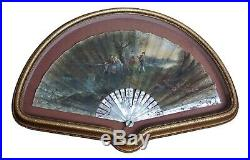 Antique Hand Painted Courting Scenes Mother of Pearl Hand Fan Signed E. Bayard