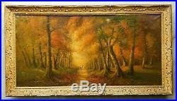 Antique Oil Canvas Painting Creepy Landscape Halloween Forest Vintage Original