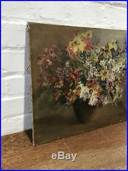 Antique Oil On Canvas Painting Spring Flowers Still Life Floral Vintage Bohemian