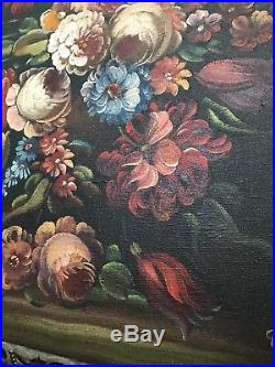 Antique Oil Painting Floral Signed With Wood and Gesso 4 Part Frame