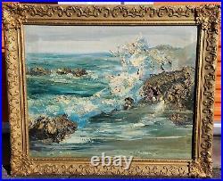 Antique Oil Painting Impasto Seascape Mid Century Vintage Abstract Ocean Beach