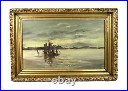 Antique Oil Painting of Maritime Harbor Scene Boats Gold Gesso Frame