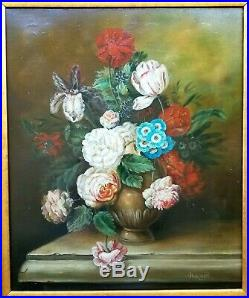 Antique Original Oil Painting Vintage Canvas Floral Still Life Gold Gilt Frame