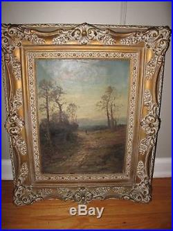Antique Original Oil Painting on Canvas LANDSCAPE SIGNED Illegibly Vintage