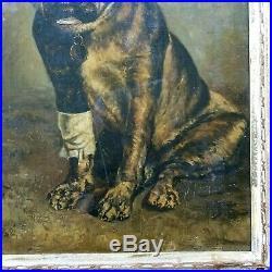 Antique Painting BULLDOG Large Original Oil on Canvas Vintage Bull Dog Portrait
