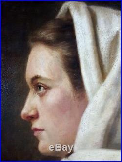 Antique Painting Eugénie Salanson (1836-1912) Oil On Panel Original Old Vintage