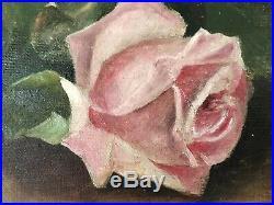 Antique Roses Oil Painting Signed J. Johnson Framed C. 1900