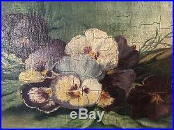 Antique Signed 1903 Original Pansies Floral Framed Oil Painting