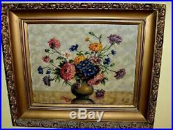 Antique VINTAGE Original Petry Oil Canvas Painting Blue Red Orange Flower Vase
