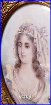 Antique Victorian French Gold Gilt Frame Miniature Signed Painting Portrait Lady
