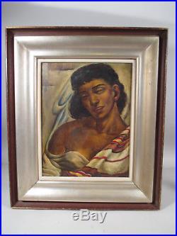 Antique Vintage Black Female Woman Ashcan Oil Painting Portrait Signed Dated'24