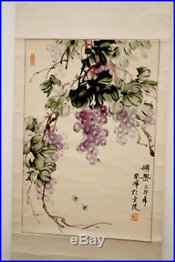 Antique / Vintage Chinese Scroll Painting Bees Grapes Wine Signed