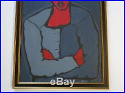 Antique Vintage Curtis Painting African American Modernist Portrait Abstract