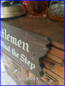 Antique Vintage Hand Painted wooden pub hotel shop sign gentlemen warning