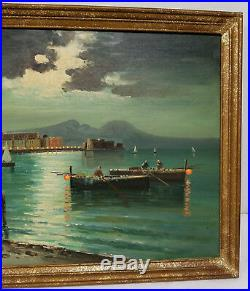 Antique Vintage Italian Naples Oil On Canvas Painting Ciappa Harbor Scene Signed