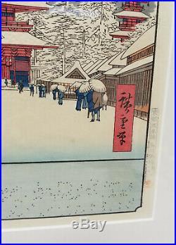 Antique Vintage Japanese Woodblock Print Temple Signed Framed