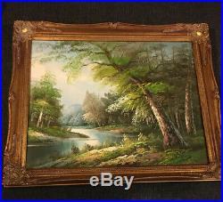 Antique Vintage Large Gilt Ornate Gold Framed Landscape Oil Painting Signed