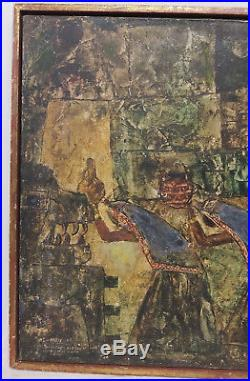 Antique Vintage MCM Egyptian Revival Oil Painting Masonite Signed Abstract