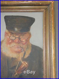 Antique Vintage Martin Browger Oil Painting Sea Sailor Portrait Signed Folk Art