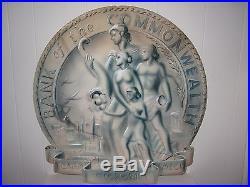 Antique Vintage Midcentury Art Deco Bank Medallion Painting Interior Design Wall