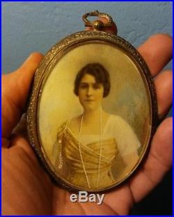 Antique Vintage Miniature Portrait Painting Pretty Lady Signed A. Birnbon