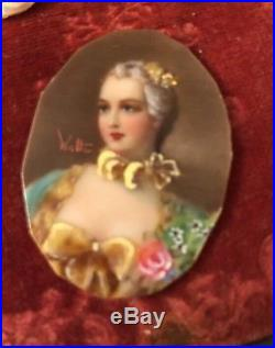 Antique Vintage Miniature Portraits Hand Painted Signed X3 Stunning For Lockets