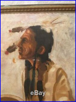 Antique Vintage Native American Indian Oil Painting Signed